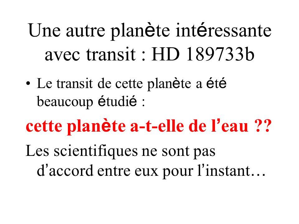 Une autre plan è te int é ressante avec transit : HD 189733b Le transit de cette plan è te a é t é beaucoup é tudi é : cette plan è te a-t-elle de l e