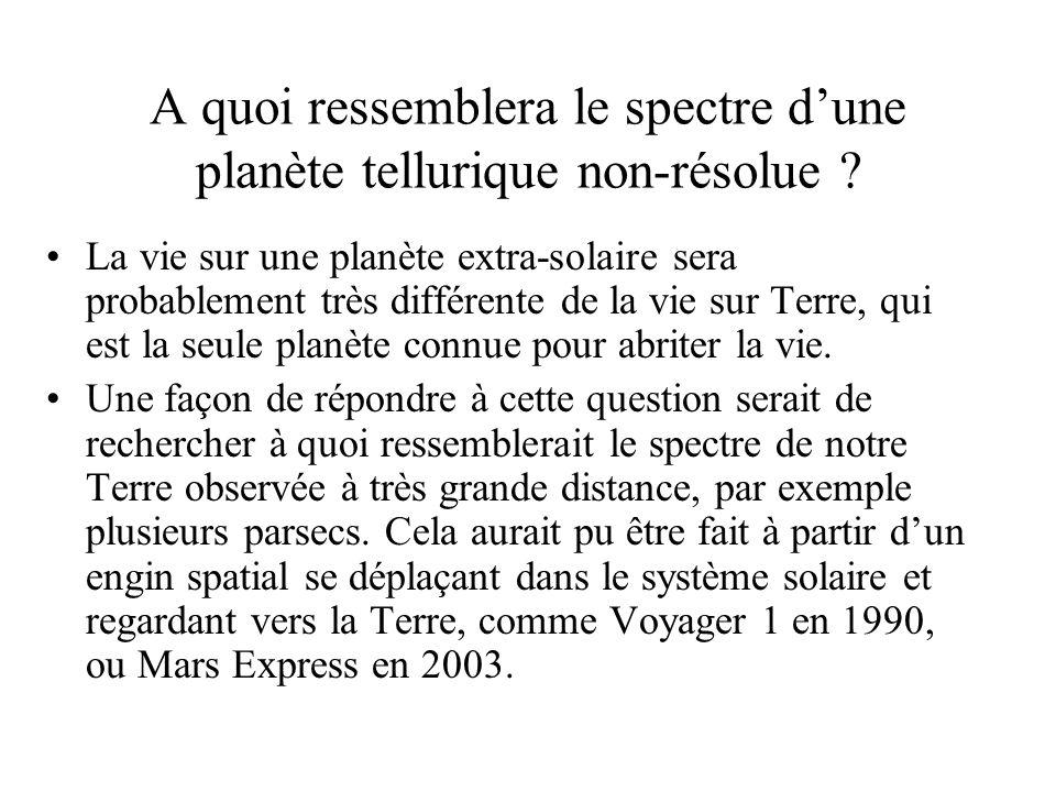 A quoi ressemblera le spectre dune planète tellurique non-résolue ? La vie sur une planète extra-solaire sera probablement très différente de la vie s