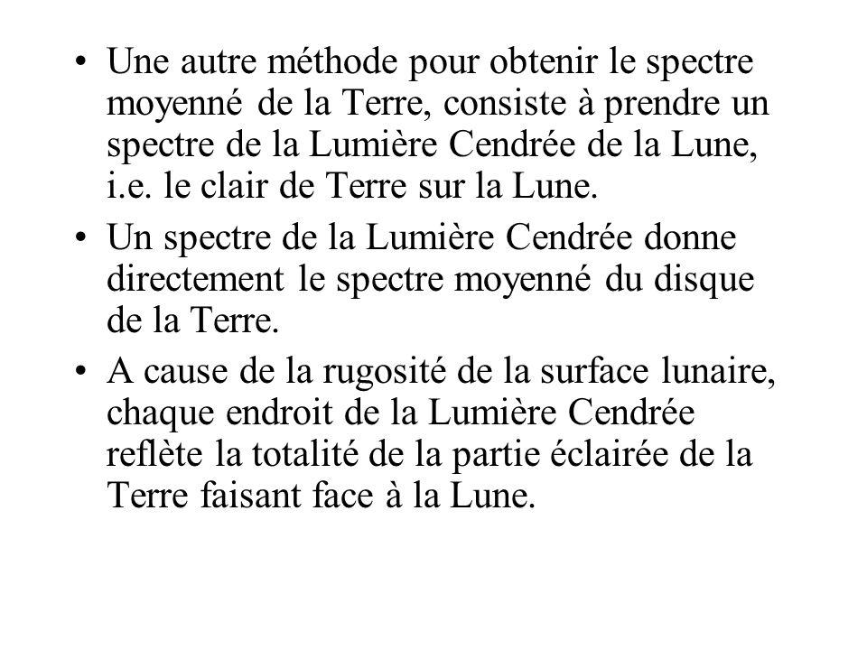Une autre méthode pour obtenir le spectre moyenné de la Terre, consiste à prendre un spectre de la Lumière Cendrée de la Lune, i.e. le clair de Terre