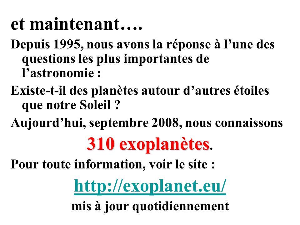 Evolution des d é couvertes depuis la premi è re plan è te extra-solaire 1995 Walker et al.