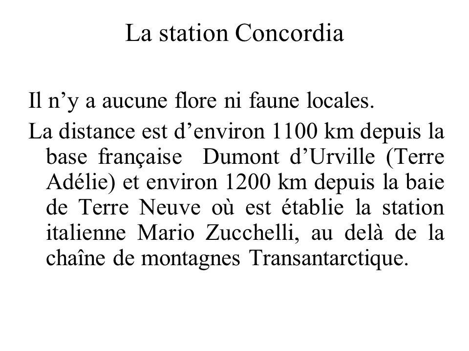 La station Concordia Il ny a aucune flore ni faune locales. La distance est denviron 1100 km depuis la base française Dumont dUrville (Terre Adélie) e