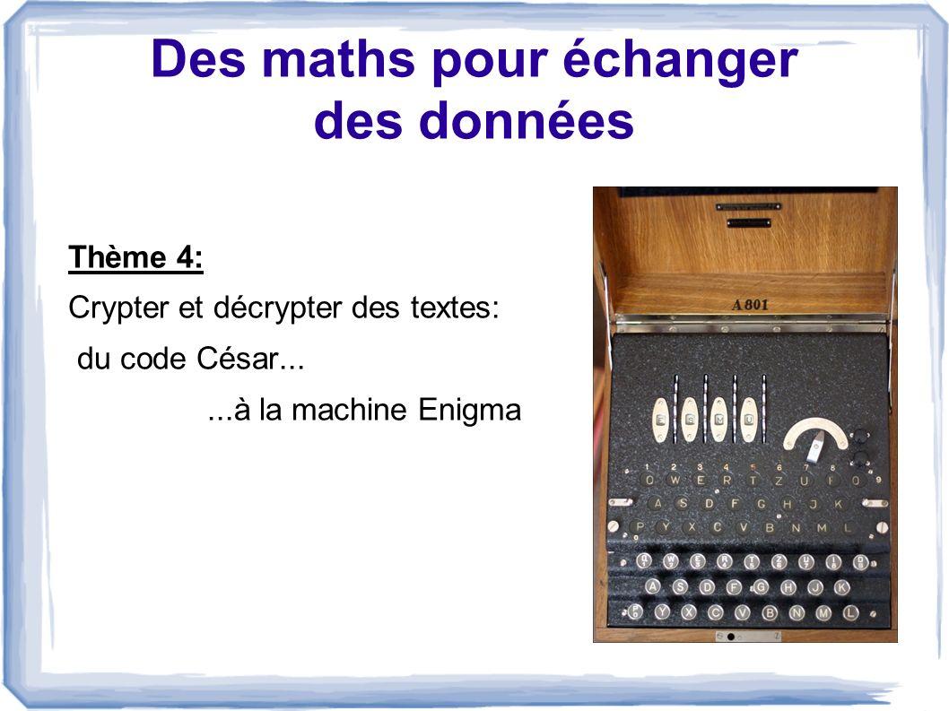 Des maths pour échanger des données Thème 4: Crypter et décrypter des textes: du code César......à la machine Enigma