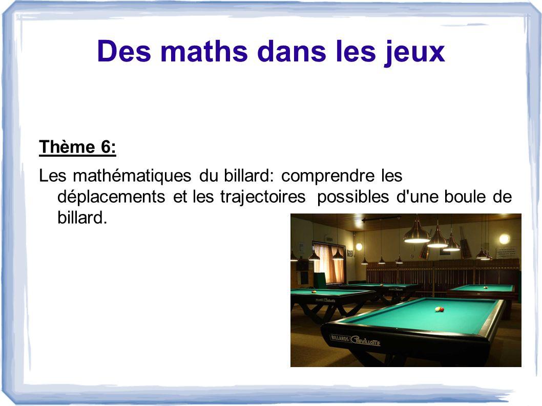 Des maths dans les jeux Thème 6: Les mathématiques du billard: comprendre les déplacements et les trajectoires possibles d'une boule de billard.