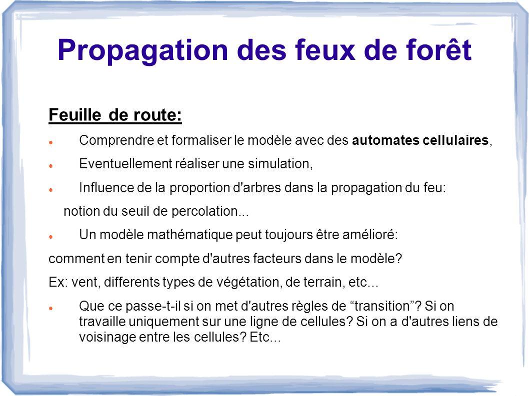 Propagation des feux de forêt Feuille de route: Comprendre et formaliser le modèle avec des automates cellulaires, Eventuellement réaliser une simulat
