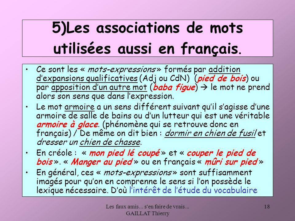 Les faux amis... s'en faire de vrais... GAILLAT Thierry 18 5)Les associations de mots utilisées aussi en français. Ce sont les « mots-expressions » fo