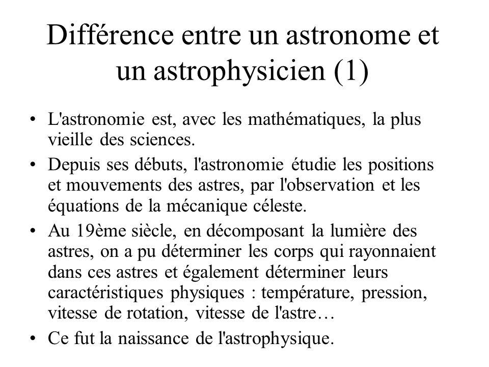 Différence entre un astronome et un astrophysicien (1) L astronomie est, avec les mathématiques, la plus vieille des sciences.