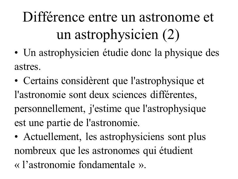 Différence entre un astronome et un astrophysicien (2) Un astrophysicien étudie donc la physique des astres.