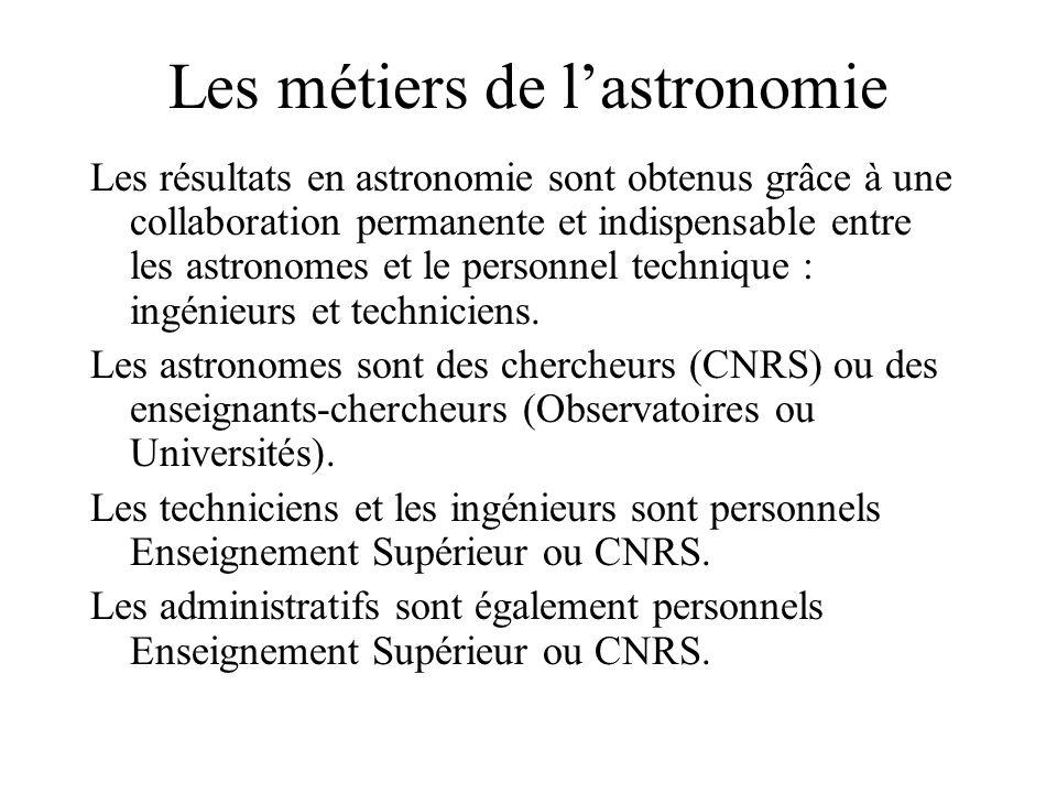 Les métiers de lastronomie Les résultats en astronomie sont obtenus grâce à une collaboration permanente et indispensable entre les astronomes et le personnel technique : ingénieurs et techniciens.
