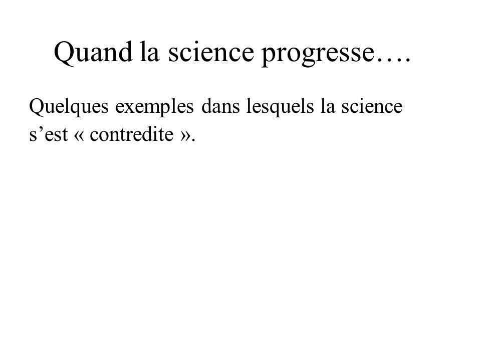 Quand la science progresse…. Quelques exemples dans lesquels la science sest « contredite ».