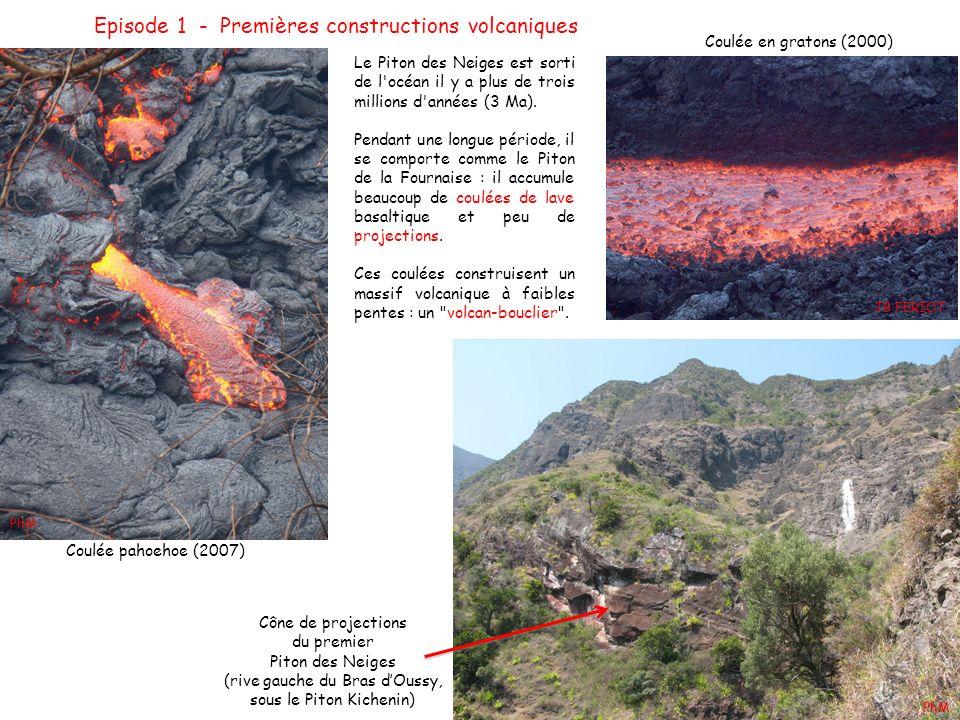 Episode 1 - Premières constructions volcaniques Le Piton des Neiges est sorti de l'océan il y a plus de trois millions d'années (3 Ma). Pendant une lo