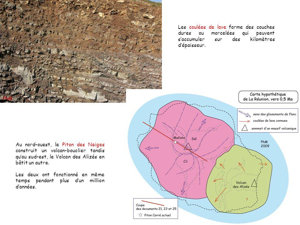 Les coulées de lave forme des couches dures ou morcelées qui peuvent saccumuler sur des kilomètres dépaisseur. Au nord-ouest, le Piton des Neiges cons