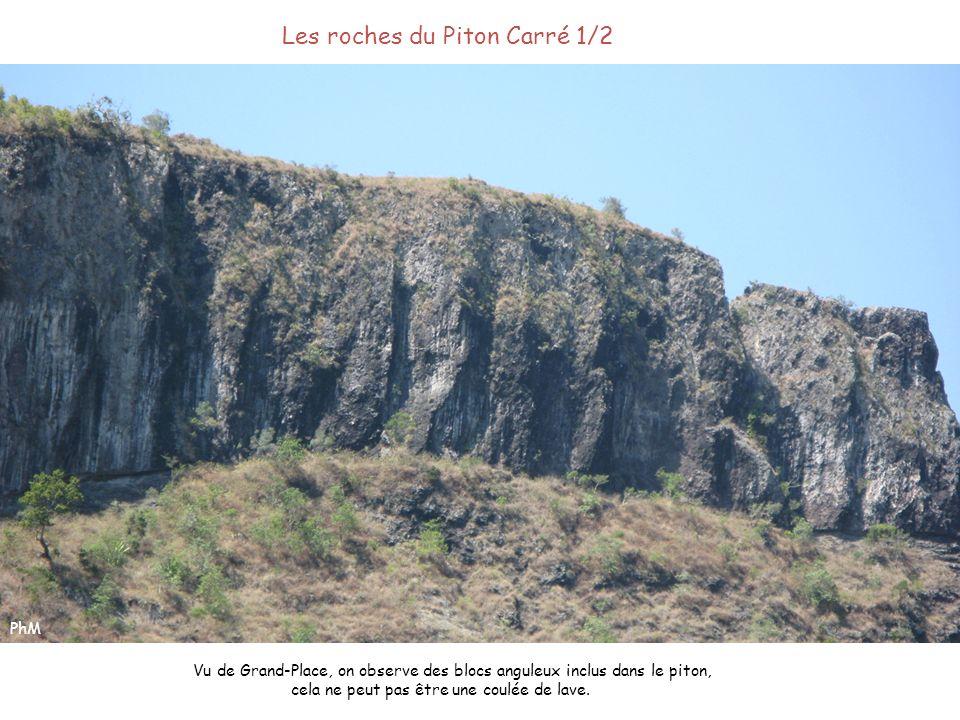 Les roches du Piton Carré 1/2 Vu de Grand-Place, on observe des blocs anguleux inclus dans le piton, cela ne peut pas être une coulée de lave. PhM