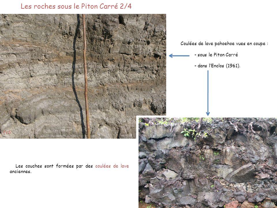 Les roches sous le Piton Carré 2/4 Les couches sont formées par des coulées de lave anciennes. Coulées de lave pahoehoe vues en coupe : - sous le Pito