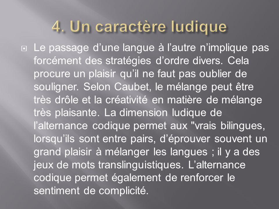 Le passage dune langue à lautre nimplique pas forcément des stratégies dordre divers. Cela procure un plaisir quil ne faut pas oublier de souligner. S