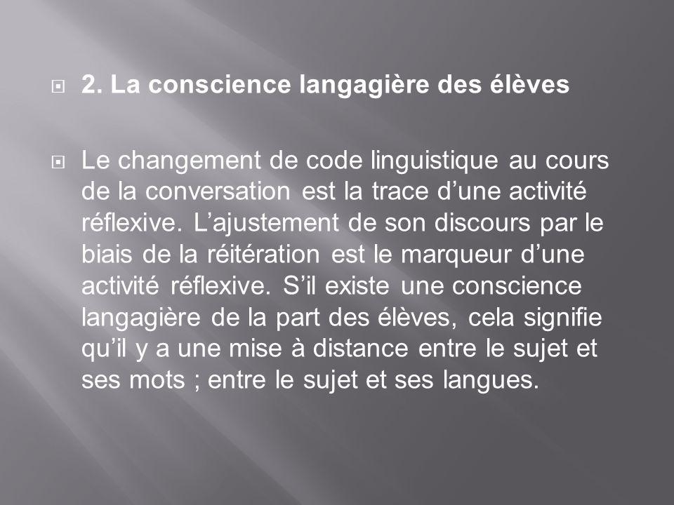 2. La conscience langagière des élèves Le changement de code linguistique au cours de la conversation est la trace dune activité réflexive. Lajustemen