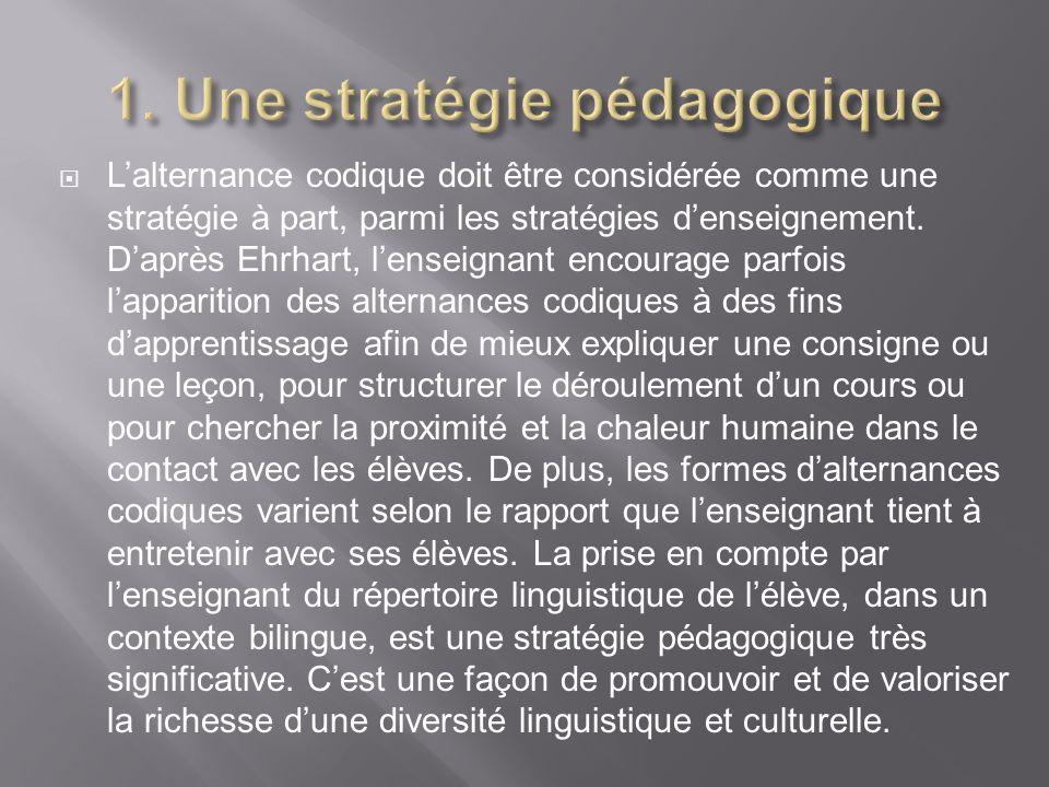 Lalternance codique doit être considérée comme une stratégie à part, parmi les stratégies denseignement. Daprès Ehrhart, lenseignant encourage parfois