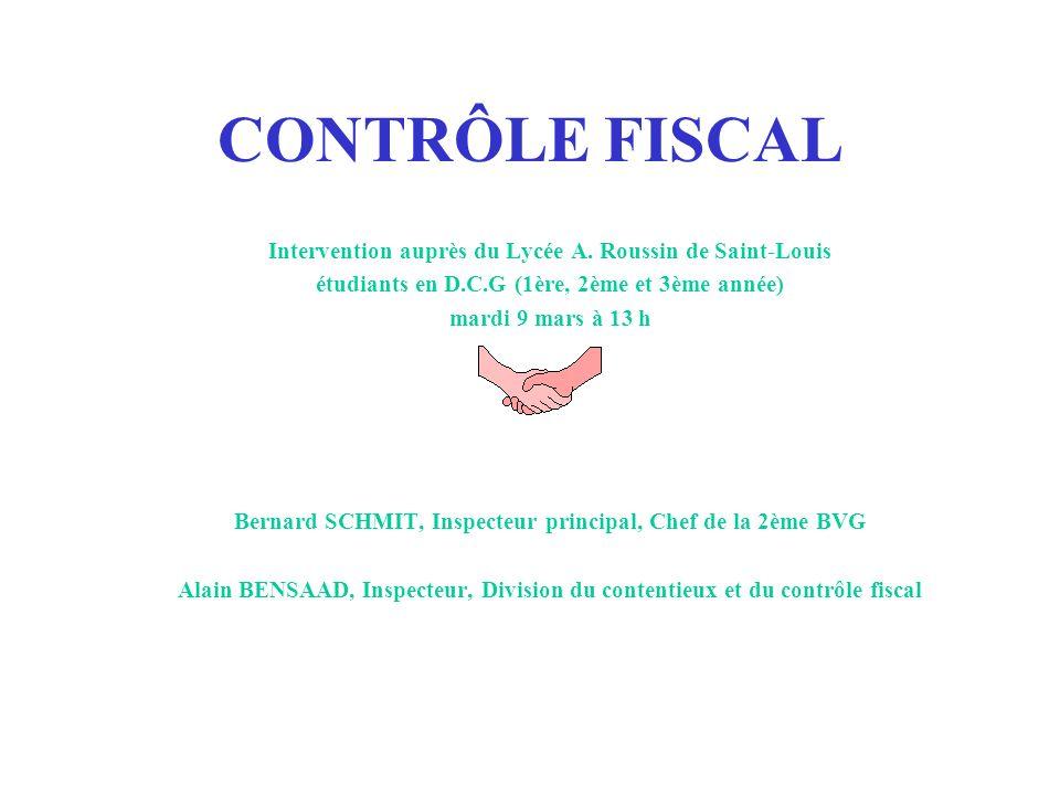 CONTRÔLE FISCAL Intervention auprès du Lycée A.