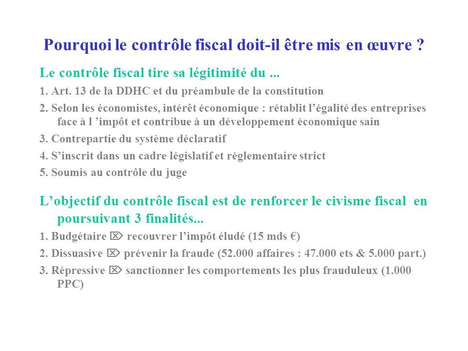 CONTRÔLE FISCAL QUESTIONS / REPONSES