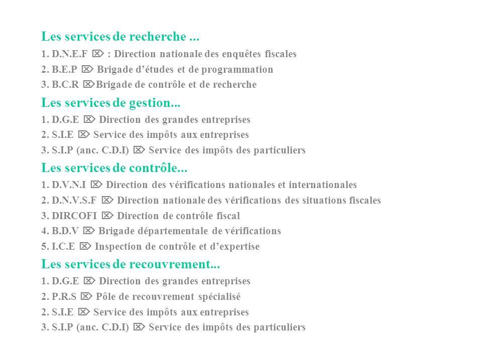 Les services de recherche...1. D.N.E.F : Direction nationale des enquêtes fiscales 2.