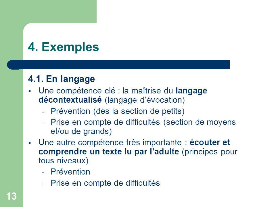 13 4. Exemples 4.1. En langage Une compétence clé : la maîtrise du langage décontextualisé (langage dévocation) - Prévention (dès la section de petits