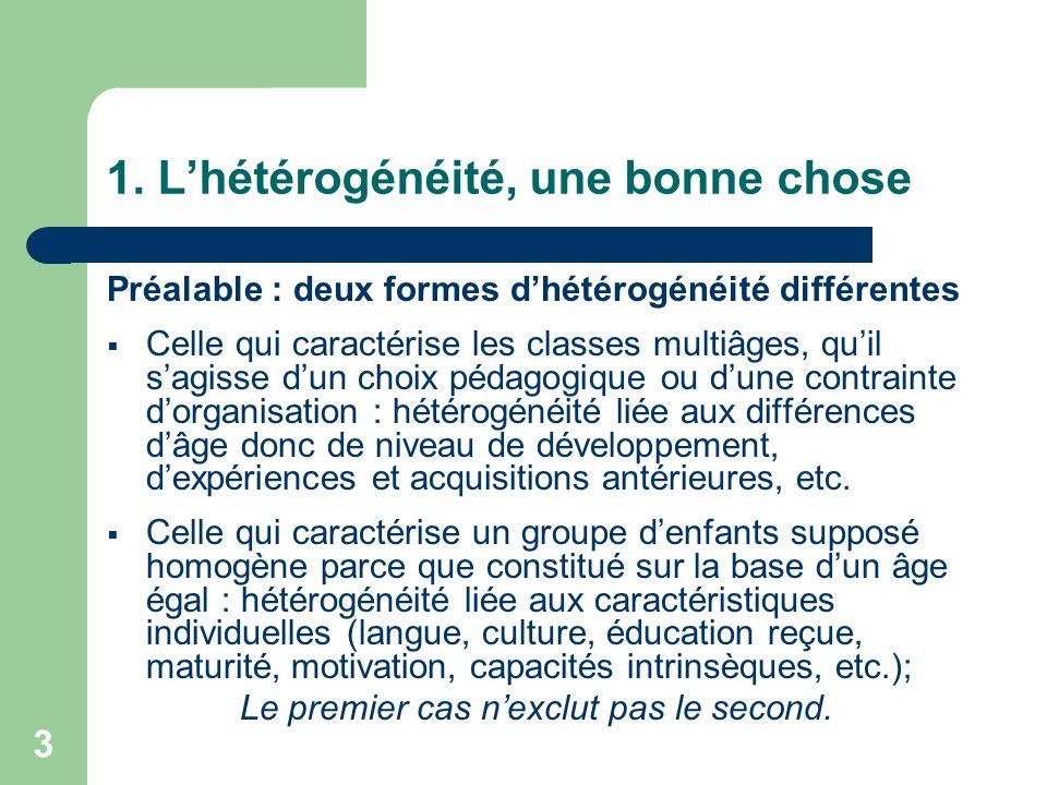 3 1. Lhétérogénéité, une bonne chose Préalable : deux formes dhétérogénéité différentes Celle qui caractérise les classes multiâges, quil sagisse dun