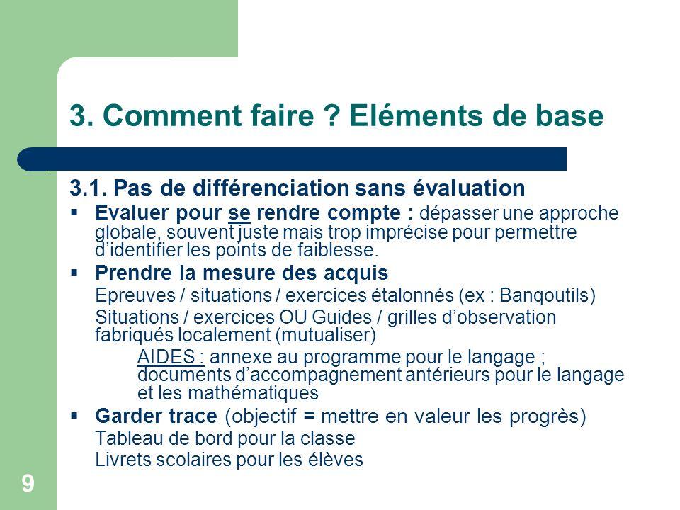 9 3. Comment faire ? Eléments de base 3.1. Pas de différenciation sans évaluation Evaluer pour se rendre compte : dépasser une approche globale, souve