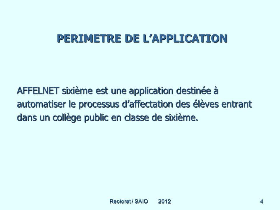 Rectorat / SAIO 20124 PERIMETRE DE LAPPLICATION PERIMETRE DE LAPPLICATION AFFELNET sixième est une application destinée à automatiser le processus daffectation des élèves entrant dans un collège public en classe de sixième.