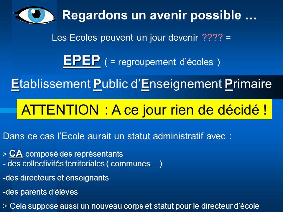 Regardons un avenir possible … Les Ecoles peuvent un jour devenir ???? = EPEP EPEP ( = regroupement décoles ) EPEP Etablissement Public dEnseignement