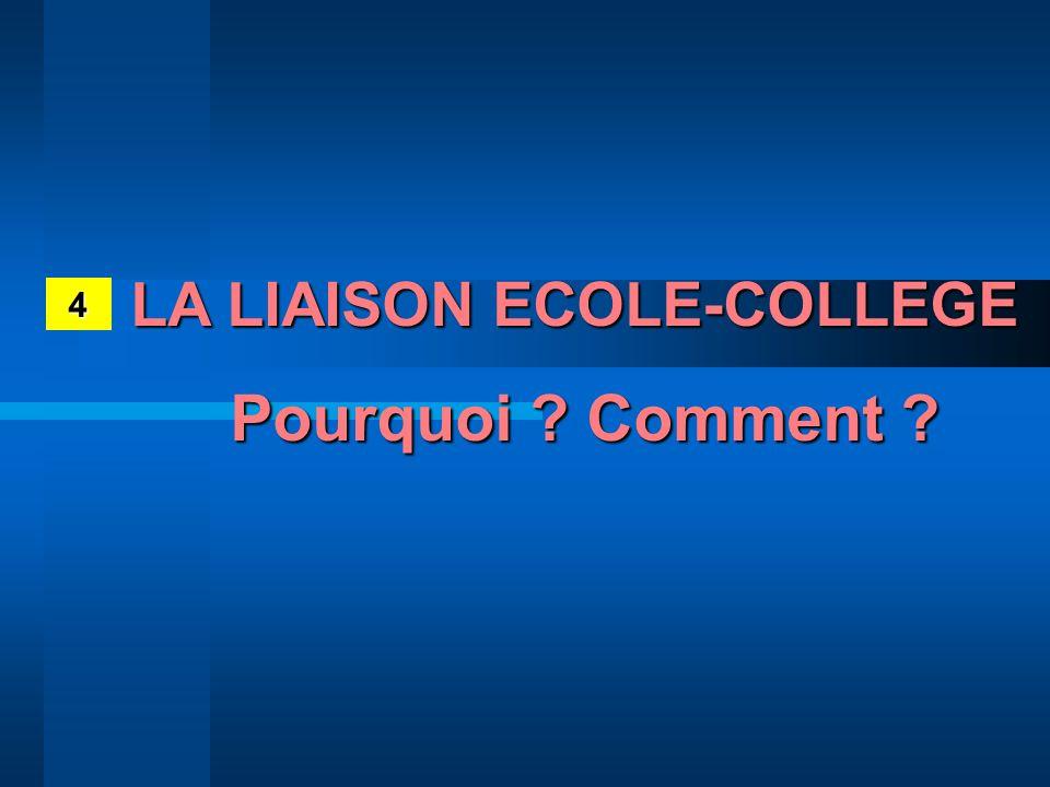 4 LA LIAISON ECOLE-COLLEGE Pourquoi ? Comment ?