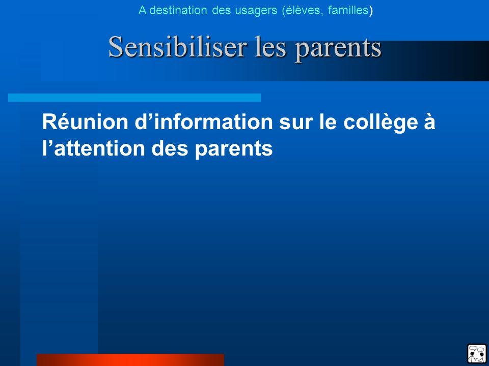 Sensibiliser les parents Réunion dinformation sur le collège à lattention des parents A destination des usagers (élèves, familles)