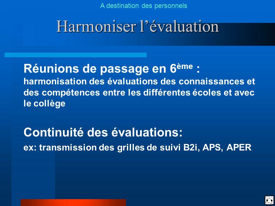 Harmoniser lévaluation Réunions de passage en 6 ème : harmonisation des évaluations des connaissances et des compétences entre les différentes écoles