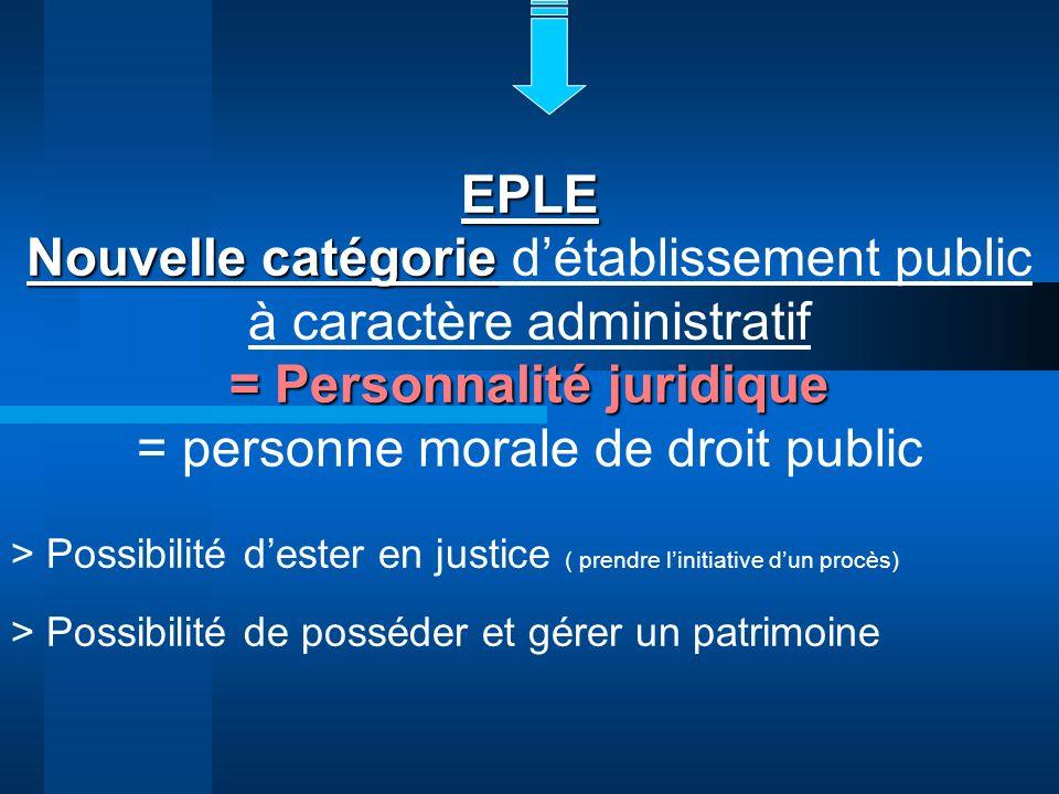EPLE Nouvelle catégorie Nouvelle catégorie détablissement public à caractère administratif = Personnalité juridique = personne morale de droit public