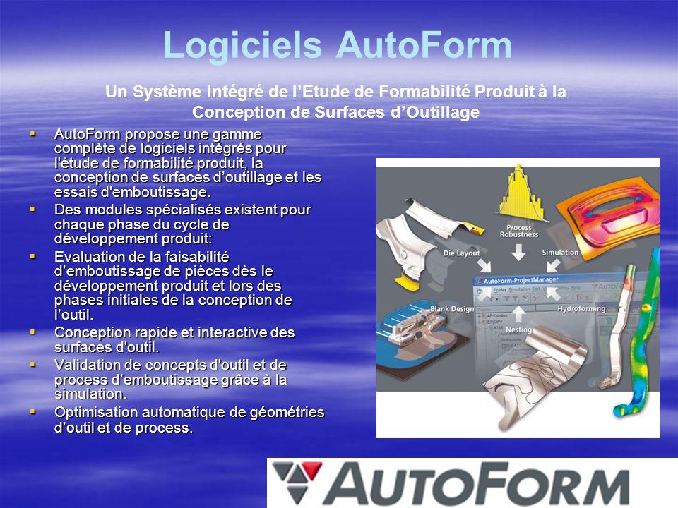 Logiciels AutoForm AutoForm propose une gamme complète de logiciels intégrés pour l'étude de formabilité produit, la conception de surfaces doutillage