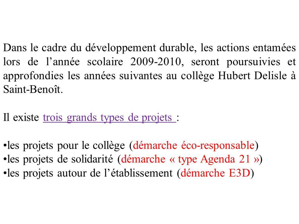 Dans le cadre du développement durable, les actions entamées lors de lannée scolaire 2009-2010, seront poursuivies et approfondies les années suivantes au collège Hubert Delisle à Saint-Benoît.