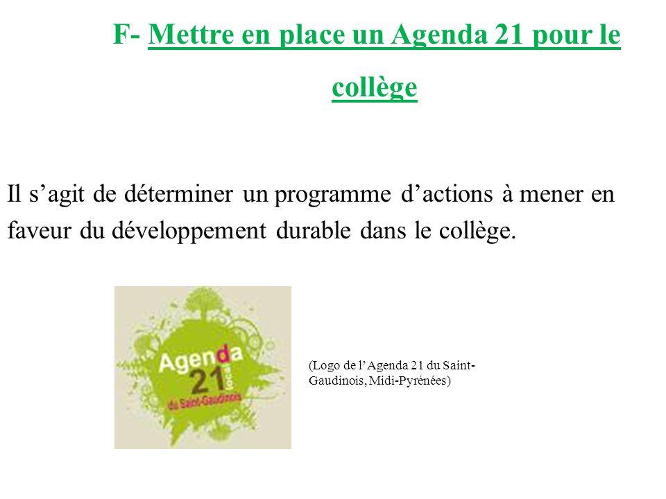 F- Mettre en place un Agenda 21 pour le collège Il sagit de déterminer un programme dactions à mener en faveur du développement durable dans le collèg