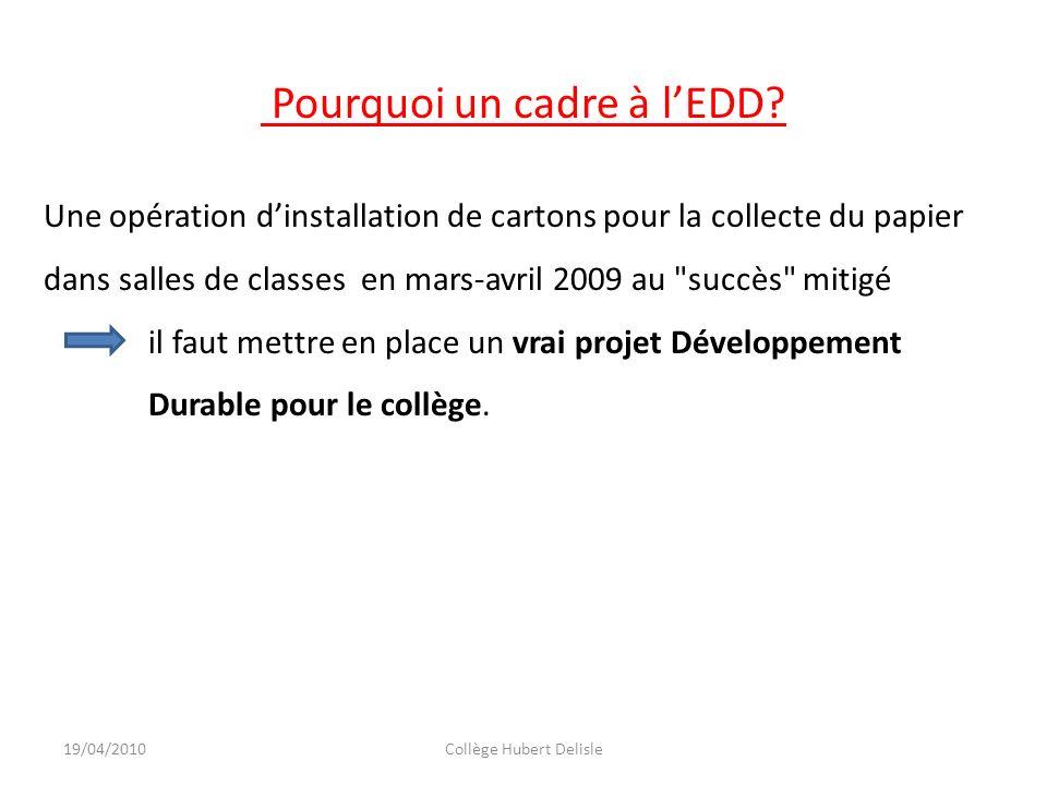 19/04/2010Collège Hubert Delisle Pourquoi un cadre à lEDD? Une opération dinstallation de cartons pour la collecte du papier dans salles de classes en
