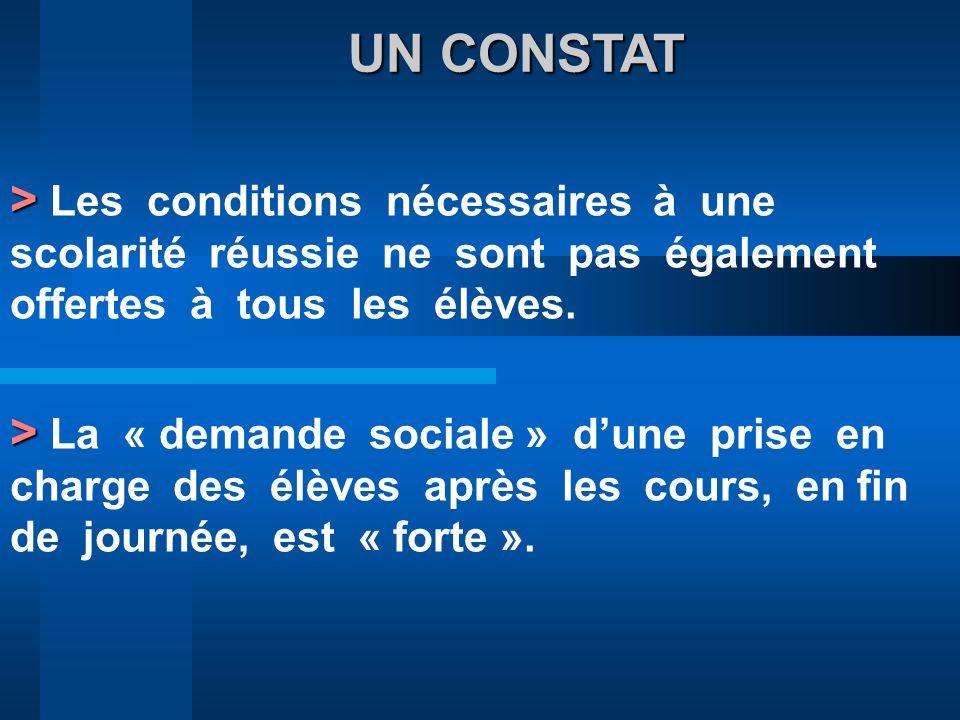 UN CONSTAT UN CONSTAT > > Les conditions nécessaires à une scolarité réussie ne sont pas également offertes à tous les élèves. > > La « demande social