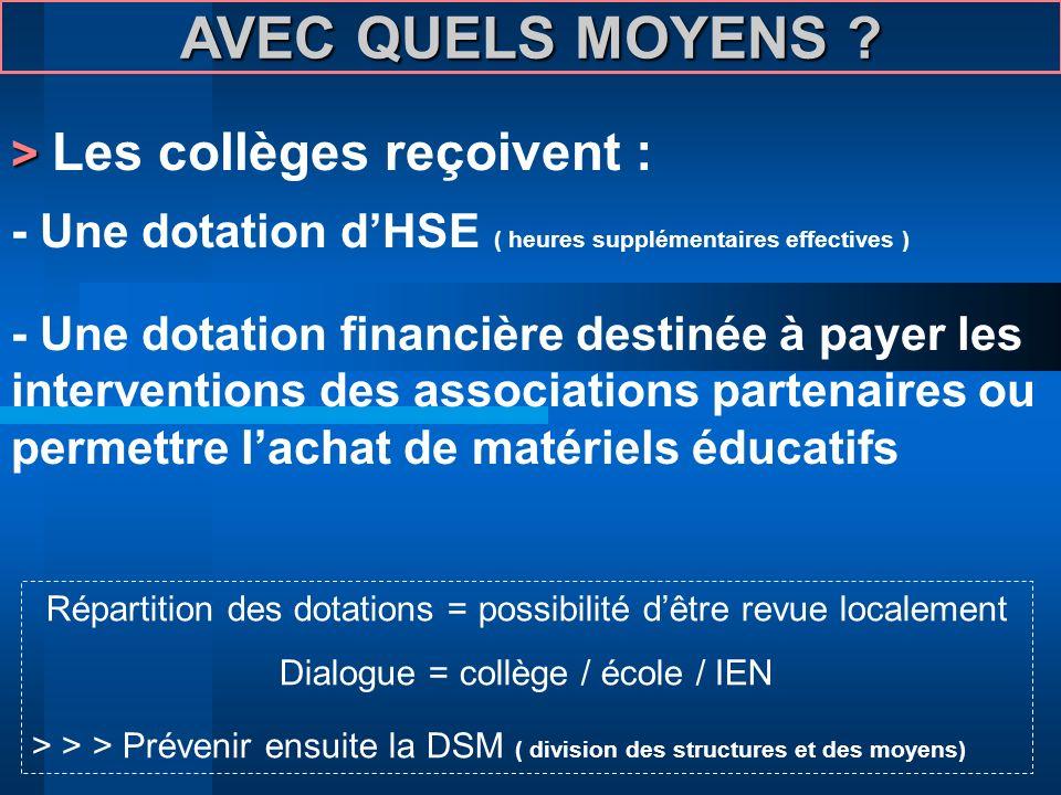 AVEC QUELS MOYENS ? > > Les collèges reçoivent : - Une dotation dHSE ( heures supplémentaires effectives ) - Une dotation financière destinée à payer