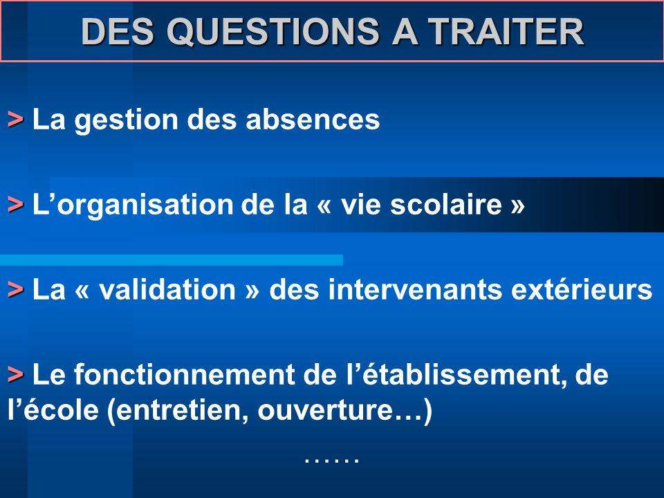 DES QUESTIONS A TRAITER > > La gestion des absences > > Lorganisation de la « vie scolaire » > > La « validation » des intervenants extérieurs > > Le