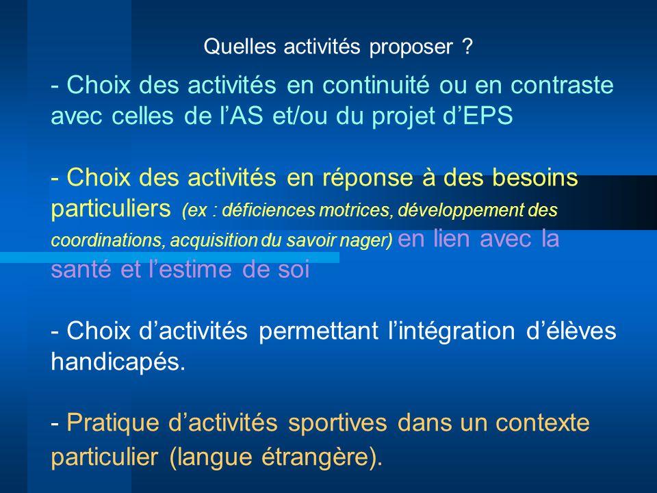 Quelles activités proposer ? - Choix des activités en continuité ou en contraste avec celles de lAS et/ou du projet dEPS - Choix des activités en répo