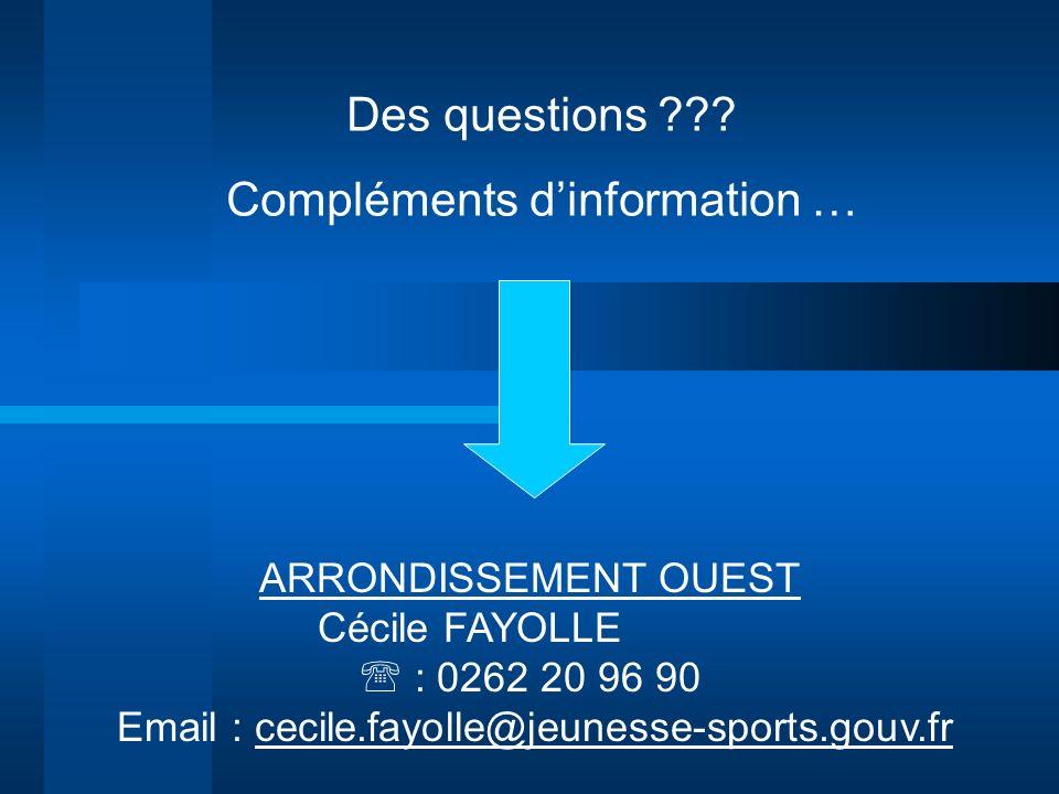 Des questions ??? Compléments dinformation … ARRONDISSEMENT OUEST Cécile FAYOLLE : 0262 20 96 90 Email : cecile.fayolle@jeunesse-sports.gouv.fr