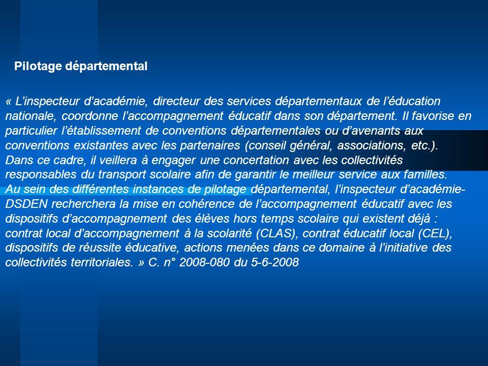 « Linspecteur dacadémie, directeur des services départementaux de léducation nationale, coordonne laccompagnement éducatif dans son département. Il fa