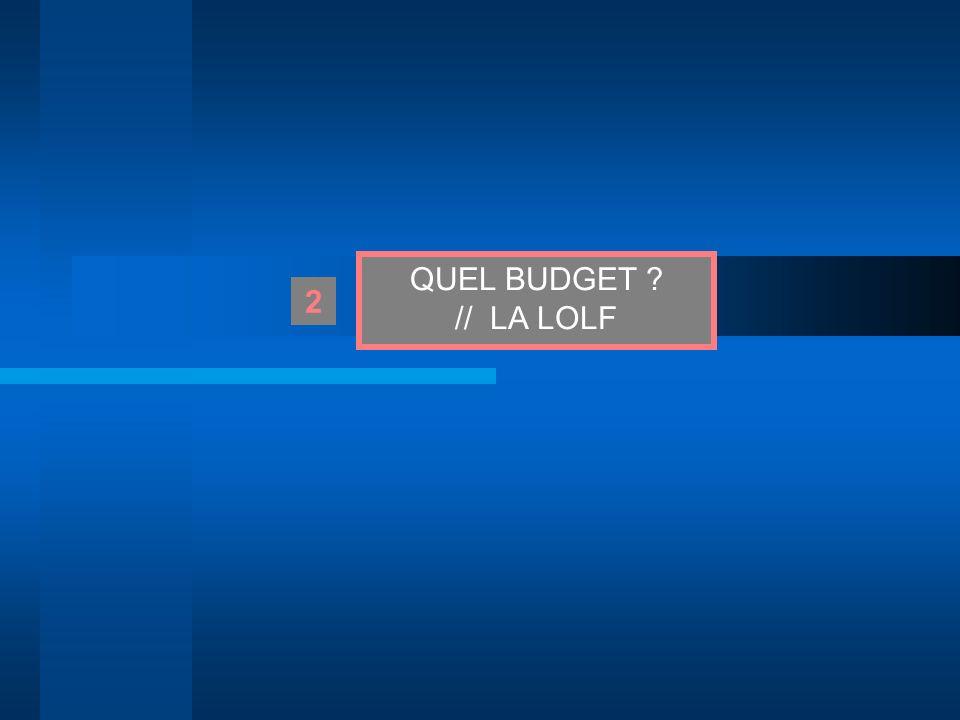 QUEL BUDGET ? // LA LOLF 2