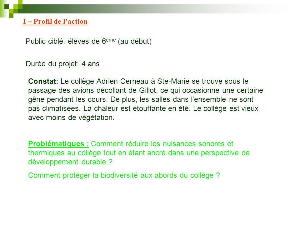 I – Profil de laction Public ciblé: élèves de 6 ème (au début) Durée du projet: 4 ans Constat: Le collège Adrien Cerneau à Ste-Marie se trouve sous le