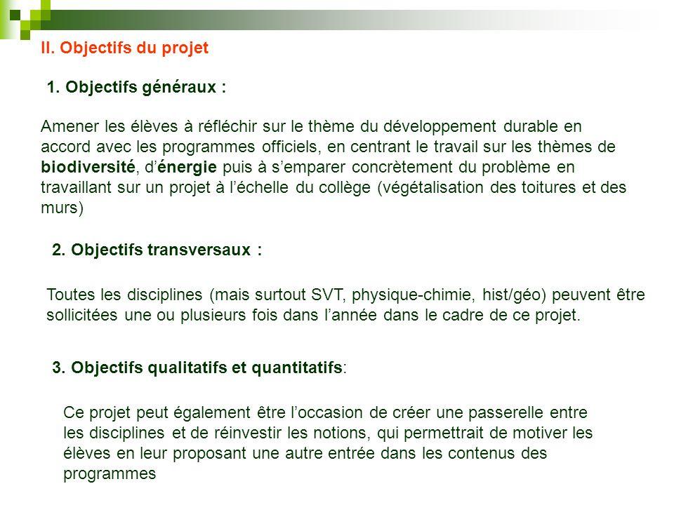 II. Objectifs du projet 1. Objectifs généraux : Amener les élèves à réfléchir sur le thème du développement durable en accord avec les programmes offi