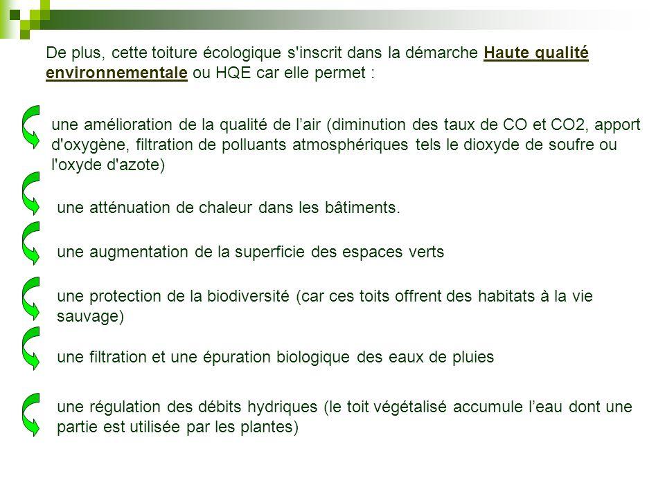 De plus, cette toiture écologique s'inscrit dans la démarche Haute qualité environnementale ou HQE car elle permet :Haute qualité environnementale une
