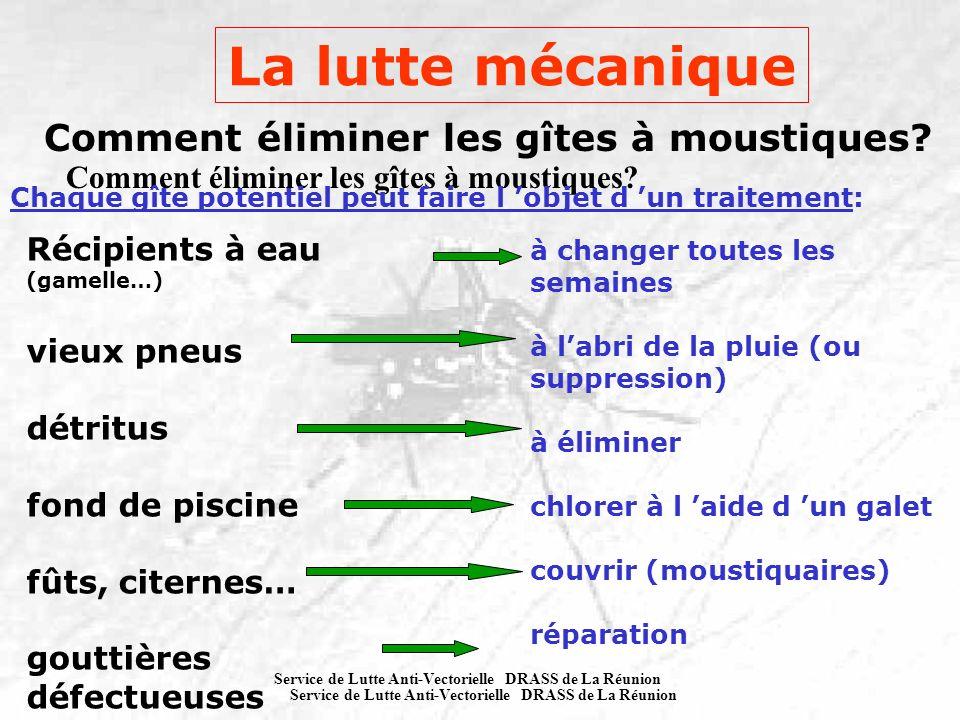 Service de Lutte Anti-Vectorielle DRASS de La Réunion Comment éliminer les gîtes à moustiques? Récipients à eau (gamelle…) vieux pneus détritus fond d