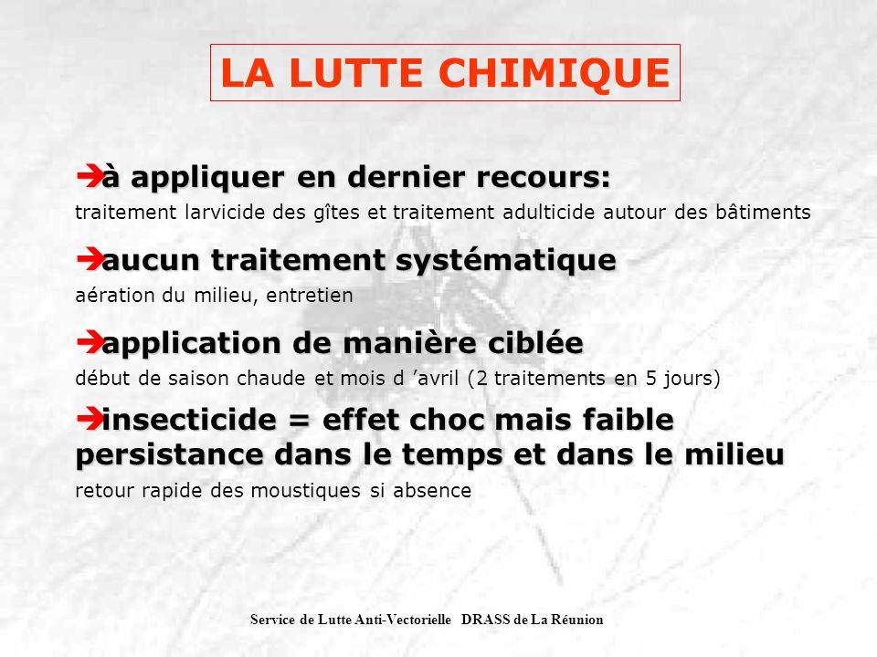 Service de Lutte Anti-Vectorielle DRASS de La Réunion LA LUTTE CHIMIQUE à appliquer en dernier recours: à appliquer en dernier recours: traitement lar