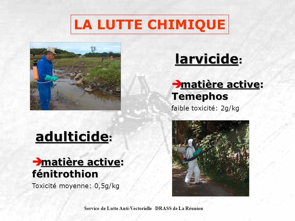 Service de Lutte Anti-Vectorielle DRASS de La Réunion larvicide : larvicide : matière active: Temephos matière active: Temephos faible toxicité: 2g/kg