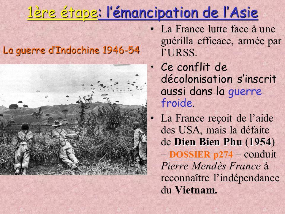 B. Les étapes de la décolonisation Bleu Bleu et rose = blocs Ouest / Est 1. Jaune 1. Jaune = États indépendants entre 1939 et 1957 2. Orange 2. Orange